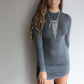 Poetic Beauty Charcoal Long Sleeve Dress