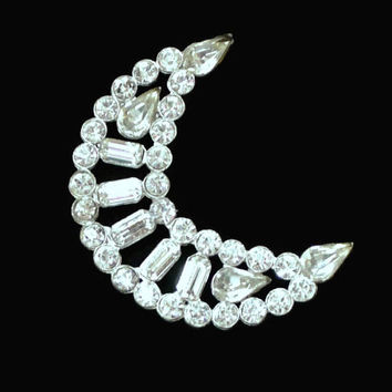 Large Rhinestone Crescent Moon Brooch Pin