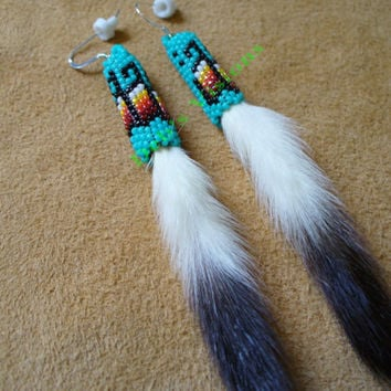 Peyote stitched beaded Ermine Tail earrings