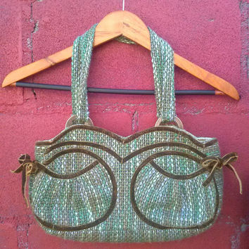 Retro tweed handbag, green tweed bag with satin detailing, pinup style purse