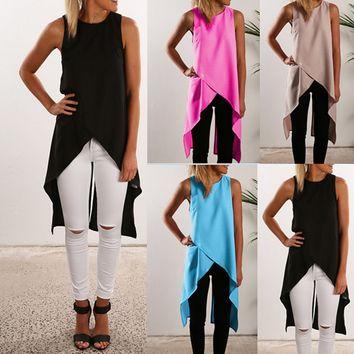 Irregular cross-vest chiffon shirt
