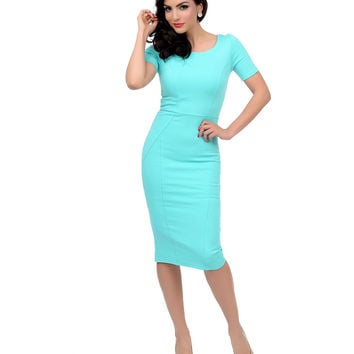 1960s Style Mint Short Sleeve Stretch Mod Wiggle Dress