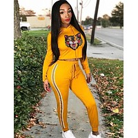GUCCI New fashion tiger long top and pants two piece suit Yellow