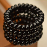4PCS/lot  Women Ladies Girls Hair Bands New Black Elastic Rubber Telephone Wire Style Hair Ties & Plastic Rope Hair Accessories
