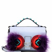 Double Micro Baguette fur and snakeskin-embellished leather crossbody bag