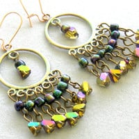 Gypsy Multi Color Beaded Chandelier Earrings Bohemian Jewelry