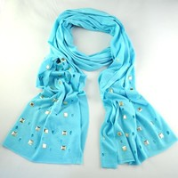 Huan Xun Sky Blue Unique Design Fabric Rectangle Jewelry Scarf