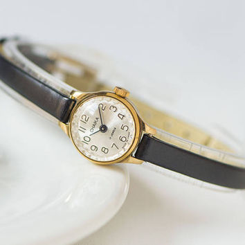 Tiny womens watch gold plated micro wristwatch Seagull classical watch for lady jewelry watch gift her fashion 70s new premium leather strap