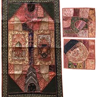 """Mogul Interior Bohemain Banzara Tapestry With Cushion Cover Beaded Embroidered Patchwork Wall Decorative Table Throw 60""""X 40"""""""