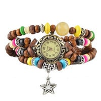 STAR BUTTERFLY American Indian wristwatch  Coffee
