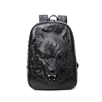 Cool Backpack school Stylish backpacks 3D wolf head backpack special cool shoulder bags for teenage girls PU leather laptop school bags AT_52_3