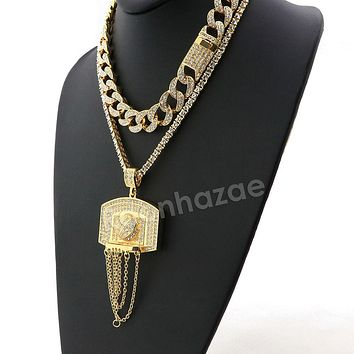 Hip Hop Iced Out Quavo Basketball Miami Cuban Choker Chain Tennis Necklace L50