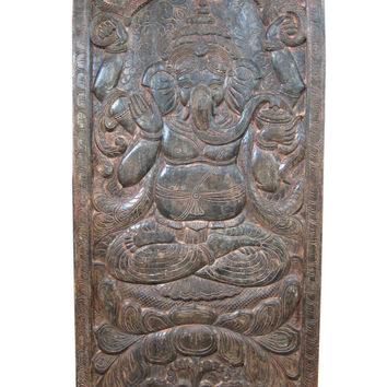Antique Wall Panel Hand Carved Ganesha Door Panels India 72 X 36 Inches