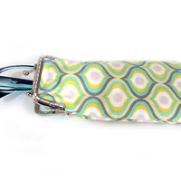 Eyeglasses Case - Reading glasses Case - Yellow Mint and Gray cotton fabric - Kiss Lock Silver Frame