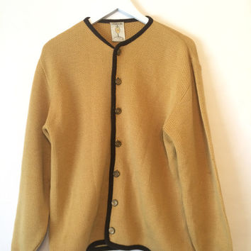 Vintage 50s PENGUIN SEATTLE Knitting Mills Cream and Brown Cardigan Size Medium