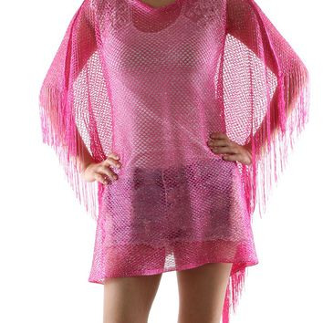 Pink Crochet Mesh Cover Up Poncho Scarf