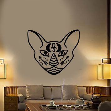 Vinyl Wall Decal Egyptian Sphynx Cat Pet Head Moon Arrows Tattoo Stickers (2533ig)