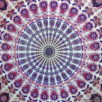 BSS248 White Base Pink and Lavender print Tapestry, Psychedelic tapesty, Boho hippie tapestries, Hippie wall tapestry