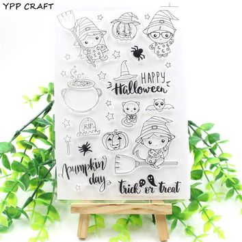 YPP CRAFT Happy Halloween Transparent Clear Silicone Stamps for DIY Scrapbooking/Card Making/Kids Fun Decoration Supplies