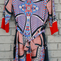 Blue & Red Printed Dress **SIZE MEDIUM ONLY**