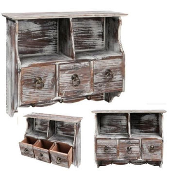 Country Rustic Brown Wood Wall Organizer Shelf Rack -Wall Cabinet with Drawers & Metal Hooks