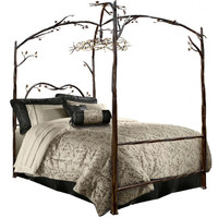 Stone County Ironworks Enchanted Forest Queen Canopy Bed
