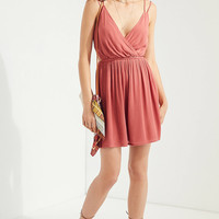 Ecote Strappy Surplice Fit + Flare Dress | Urban Outfitters