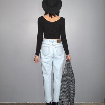 High Rise Mom Jeans - Calvin Klein 90s Grunge Light-blue High-waist Tapered VTG - Size 28 inch Waist