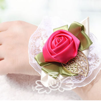 8 Color Wedding Decorative Flowers & Wreath Artificial Silk Rose Prom Wrist Corsage with bracelet  A0003