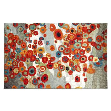 Mohawk Home Tossed Floral Abstract Indoor Outdoor Rug (Grey)