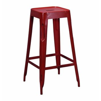 Tolix Style Bar Stool Red - Iron - Reproduction | GFURN