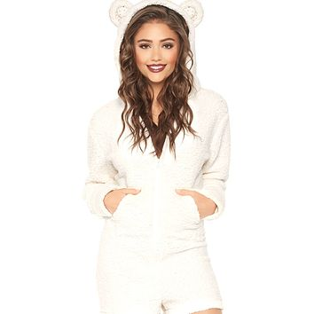 Fuzzy Bear Zip-Up Onesuit Romper with Pockets and Ears