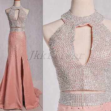 Unique Fresh Pink Two Piece Prom Dresses,Two Piece Beaded Prom Dresses,High Neck Party Dresses,High Slit Homecoming Dresses