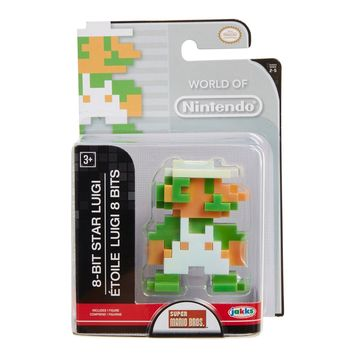 "8 Bit Star Luigi 2.5"" Mini Figure World of Nintendo NEW Super Mario"