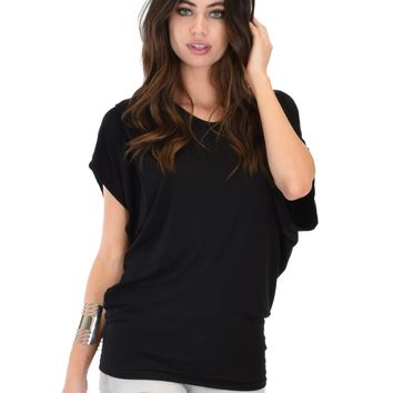 Lyss Loo Contemporary Dolman Black Tunic Top
