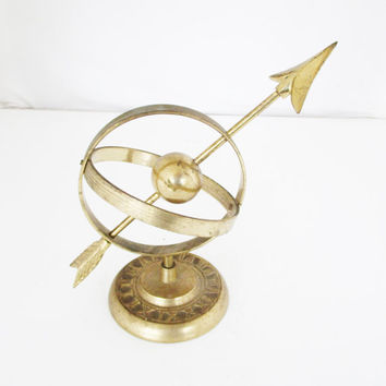 Vintage Brass Armillary Sphere Armillary Sundial Sphere Globe with Roman Numerals Nautical  Brass Sculpture Mid Century Decor Gift for Him