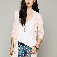 Free People  Long Cable Cardigan at Free People Clothing Boutique