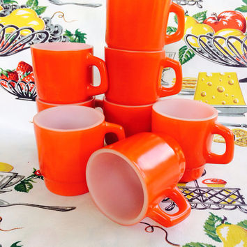 Cherry Red Fire-King Mugs Set of 8 Anchor Hocking Vintage Red Kitchen FireKing Fire King