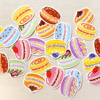 Colorful Macaron Sticker Flakes Pack of 24 - Kawaii Sweet Treats Macaron Stickers- Planner Calendar Stickers, Invitation Seals, Party Favors