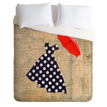 Irena Orlov Red Umbrella Duvet Cover