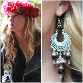 Wanderlust earrings, Boho jewelry, Romantic bohemian gypsy shoulder duster earring, Hippie Music festival jewelry True rebel clothing