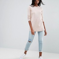 ASOS Top In Textured Rib With Long Sleeves and Side Splits at asos.com