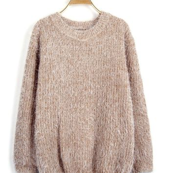 Chic Vintage Womens Mohair Pullover Sweater Coat