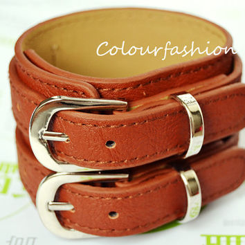 Christmas Gift, Winter Accessory, metal buckle, natural Brown Leather Cuff, wristband watch, vegetable tanned leather C-80