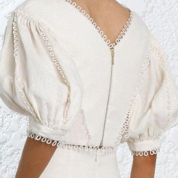 ICIKON3 wishbop  short cream painted heart tear bodice tops v neck lace edge elbow length puff sleeves circles cuffs zip back