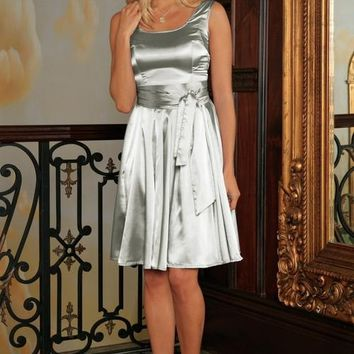 Silver Grey Charmeuse Sleeveless Prom Skater Dress
