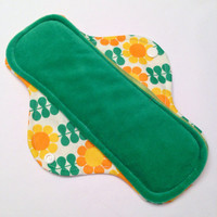"NEW SIZE - 9"" Velour Sunny Flowers Cloth Menstrual Pad - Mama Cloth - Ready to Ship"