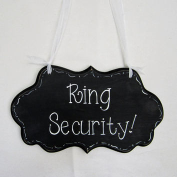 "Wedding Sign, Hand Painted Wooden Ring Bearer Sign,  "" Ring Security"""