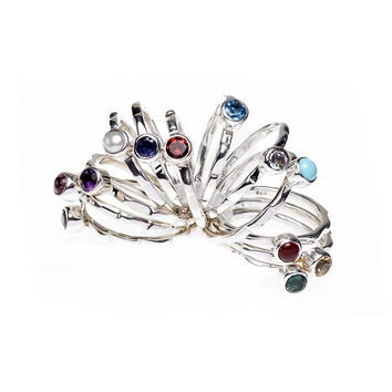 Mod Pod Sterling Silver Birthstone Stack Ring