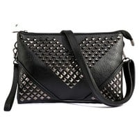 Women's Black Leather Studded Cross Body Handbag